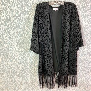 Sweaters - NWOT Leopard Print Kimono with Tassel Bottom Black